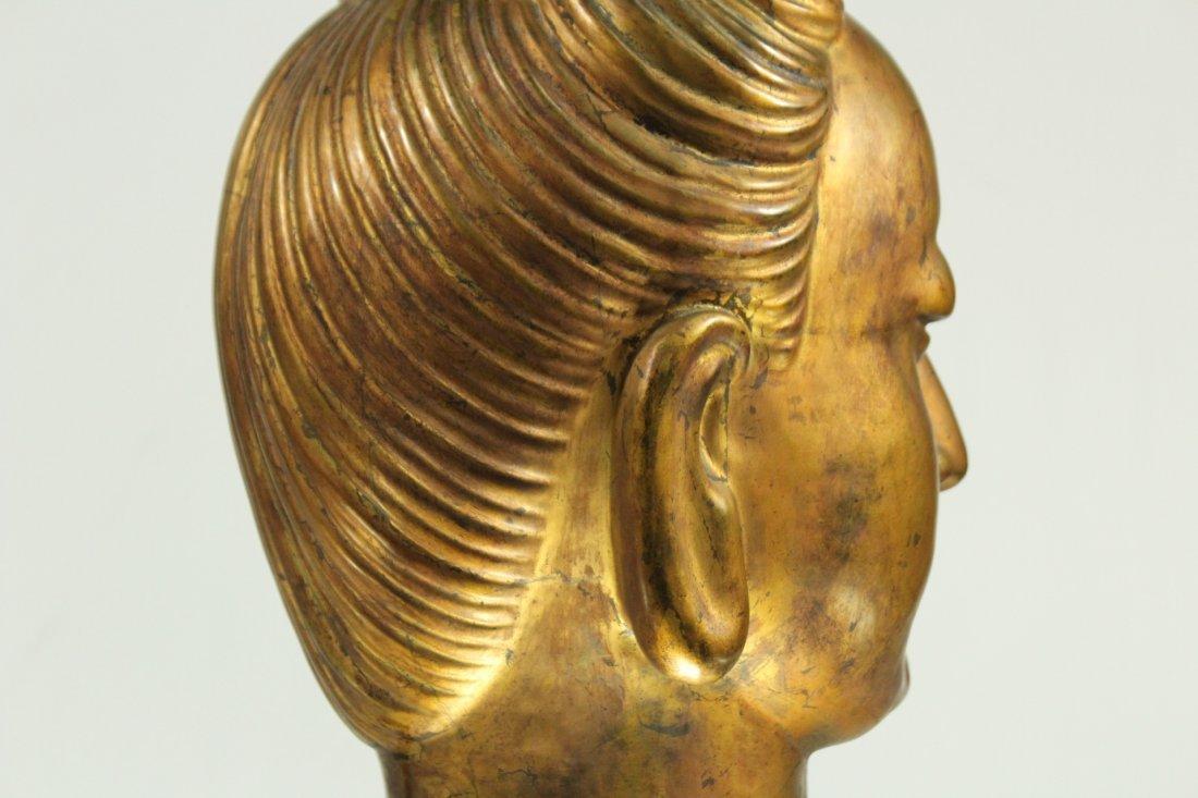large Buddha metal head statue - 3