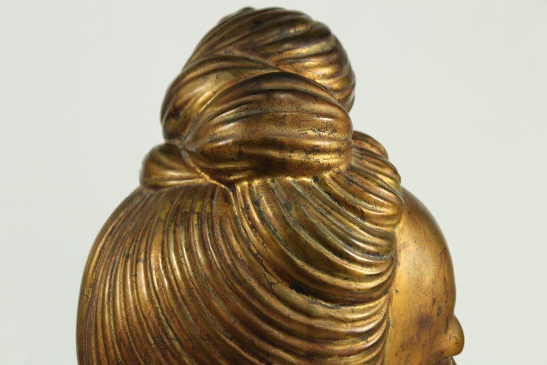 large Buddha metal head statue - 4