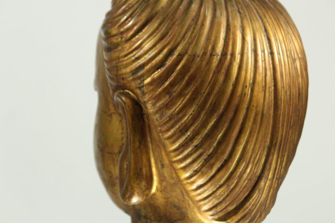 large Buddha metal head statue - 5