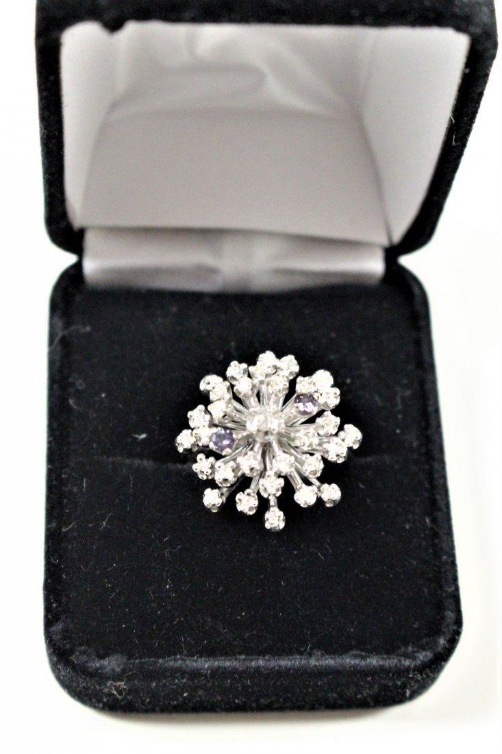 Vintage 14K WHITE GOLD DIAMOND CLUSTER RING 2 TANZANITE