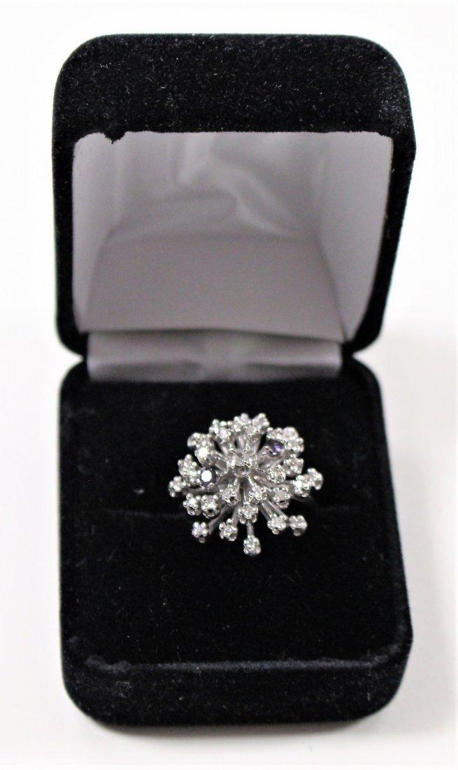 Vintage 14K WHITE GOLD DIAMOND CLUSTER RING 2 TANZANITE - 2