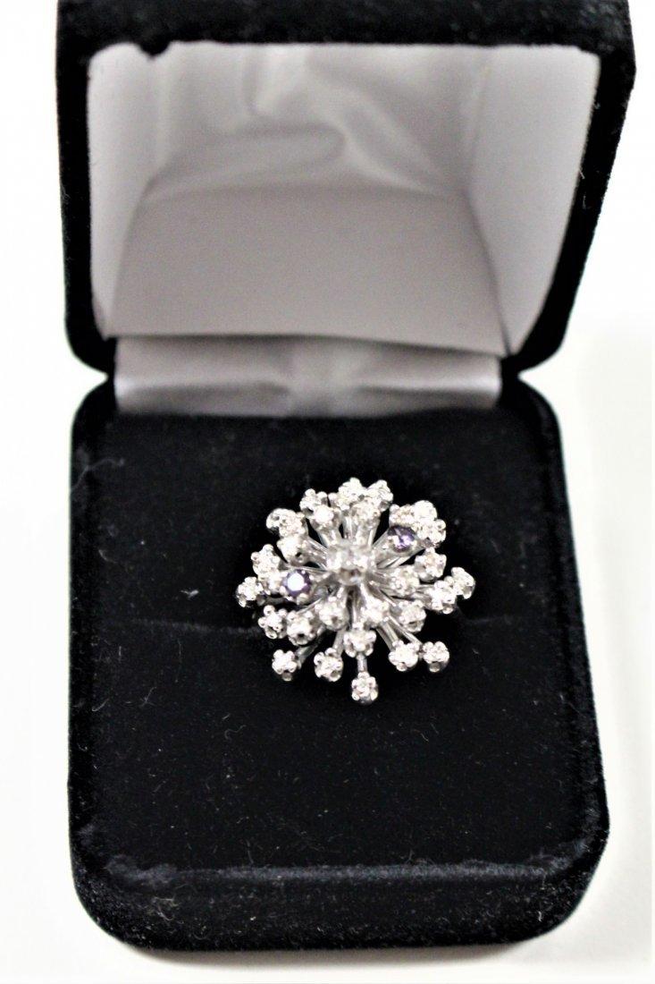 Vintage 14K WHITE GOLD DIAMOND CLUSTER RING 2 TANZANITE - 3