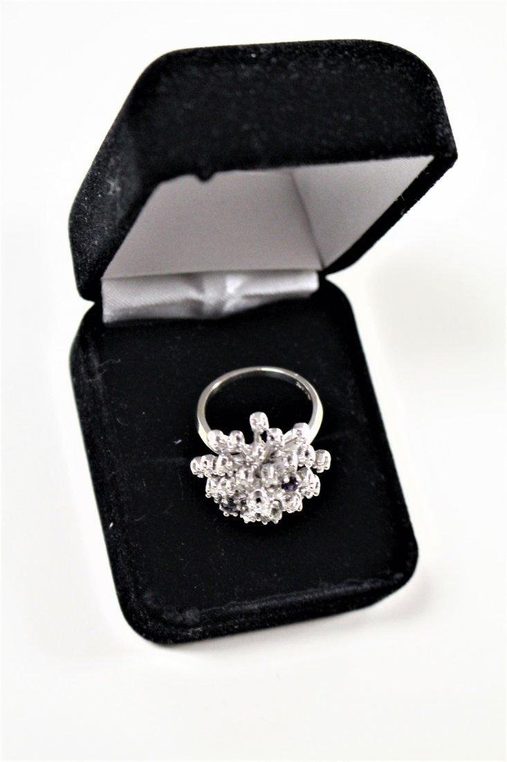 Vintage 14K WHITE GOLD DIAMOND CLUSTER RING 2 TANZANITE - 4