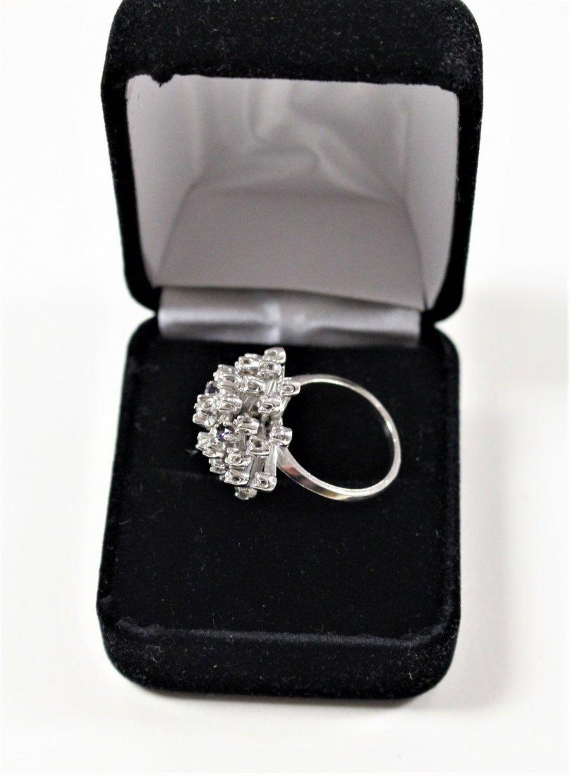 Vintage 14K WHITE GOLD DIAMOND CLUSTER RING 2 TANZANITE - 5