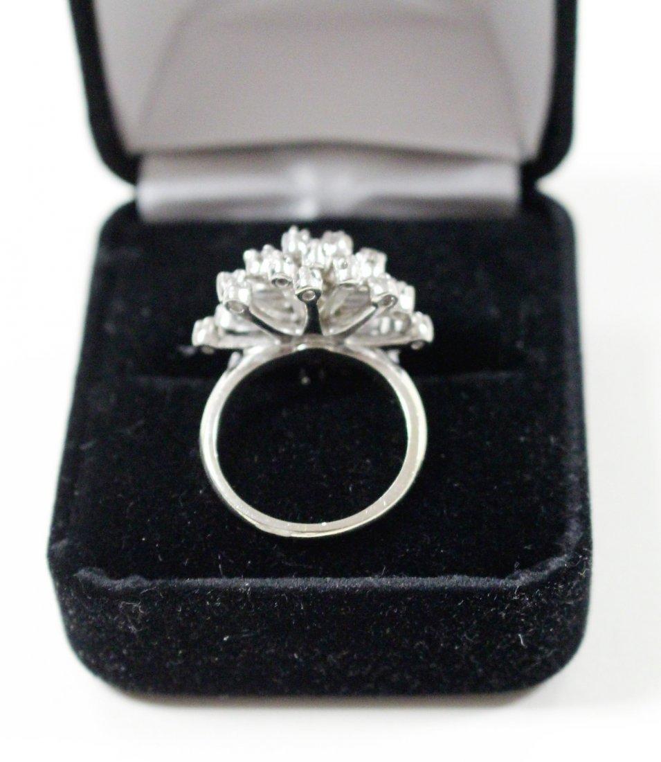 Vintage 14K WHITE GOLD DIAMOND CLUSTER RING 2 TANZANITE - 6