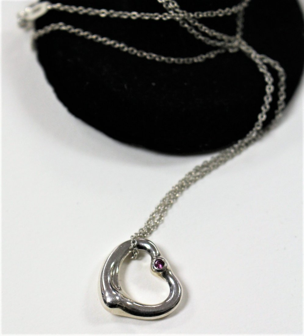 TIFFANY & CO STERLING HEART NECKLACE WITH RUBY STONE