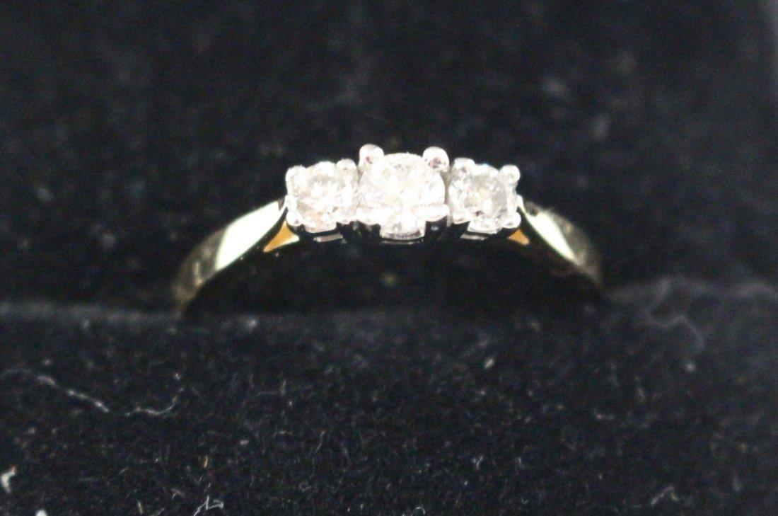 DIAMOND RING 14 K WHITE GOLD, PAST, PRESENT, FUTURE