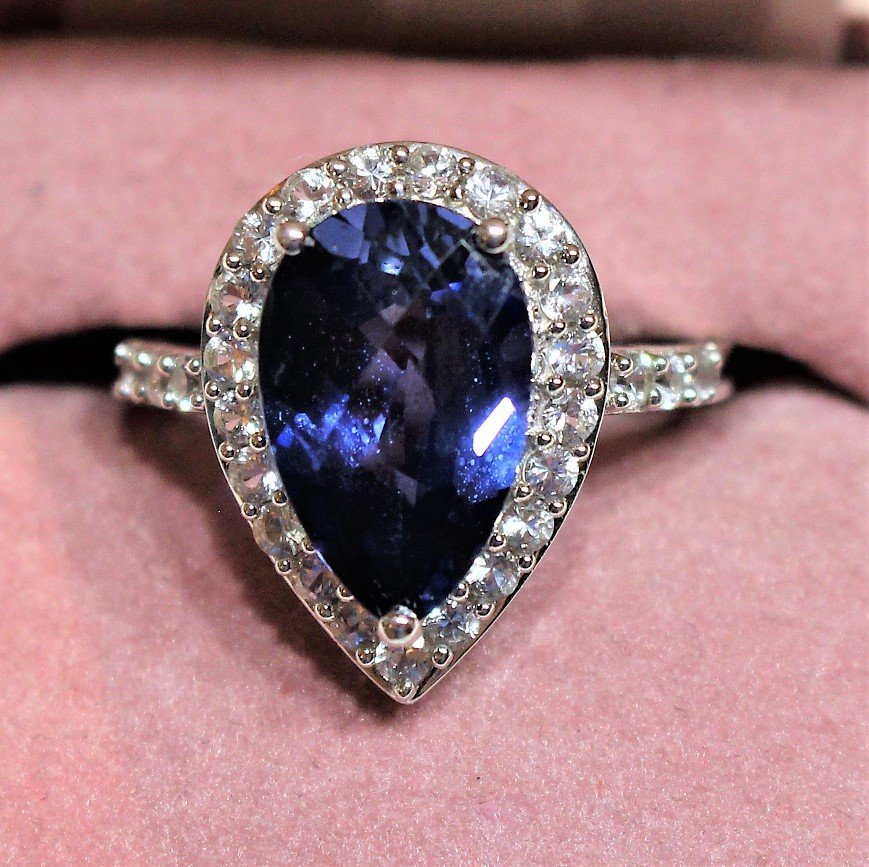 10 K White Gold Blue Sapphire Ring With CZs
