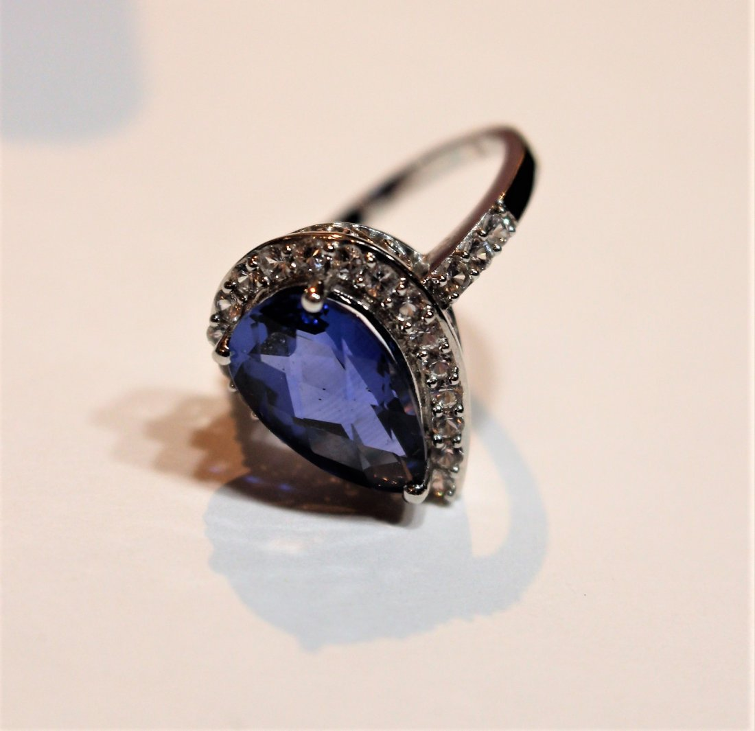 10 K White Gold Blue Sapphire Ring With CZs - 2