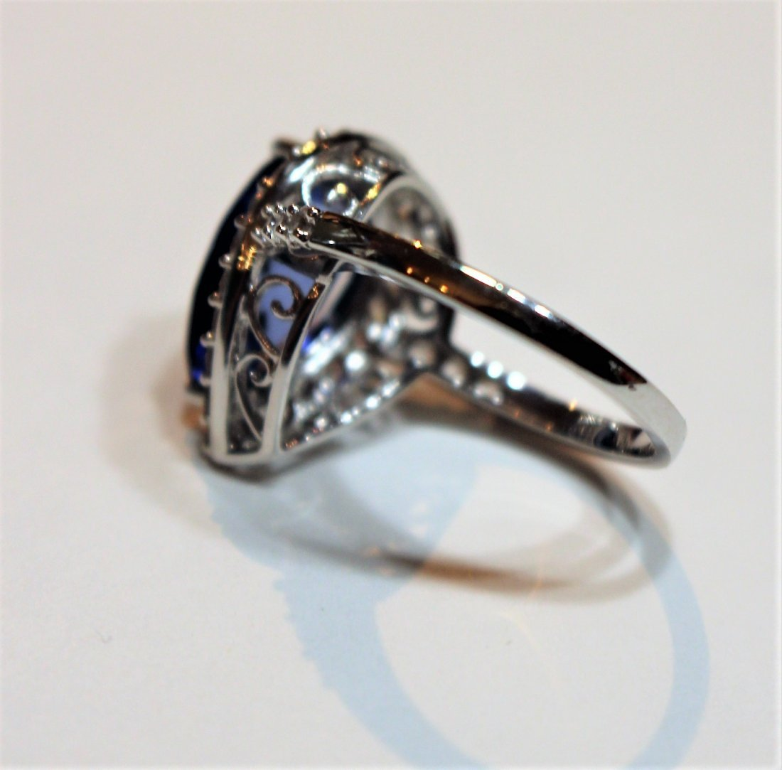 10 K White Gold Blue Sapphire Ring With CZs - 3