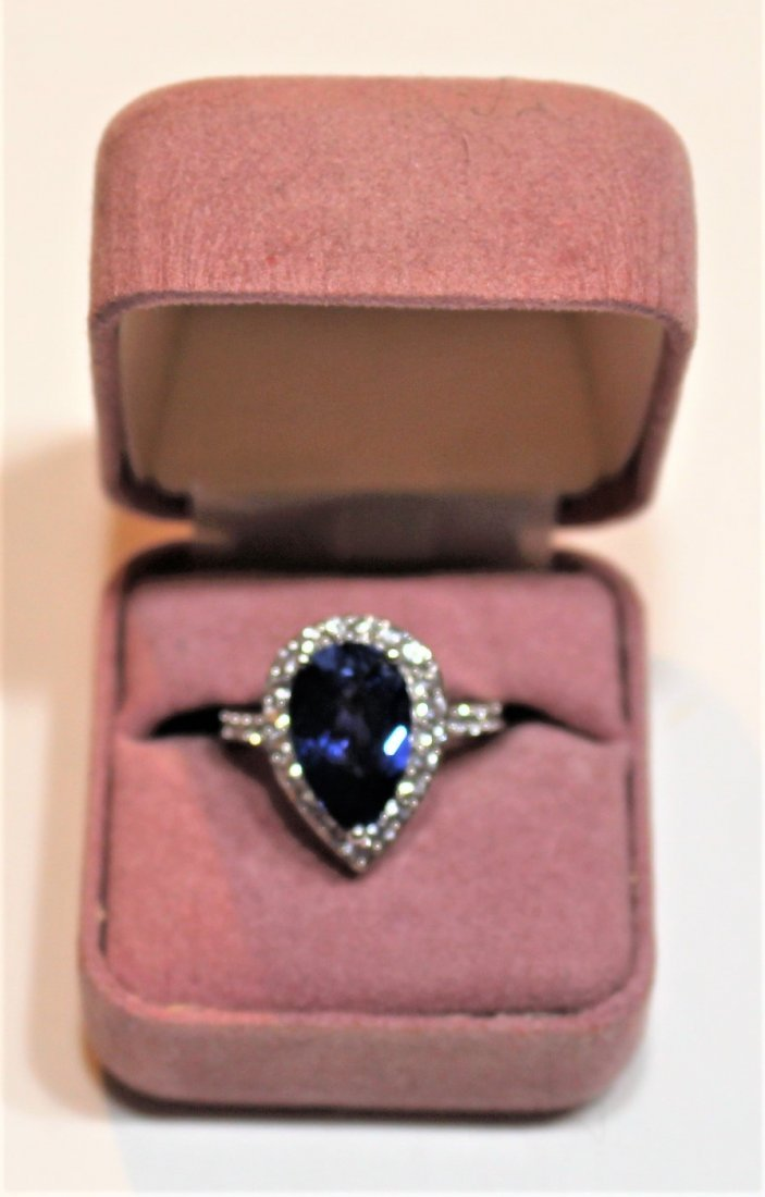 10 K White Gold Blue Sapphire Ring With CZs - 4