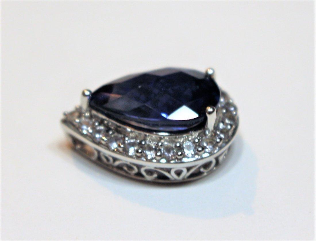 10 K White Blue Sapphire Pendant With CZs - 2