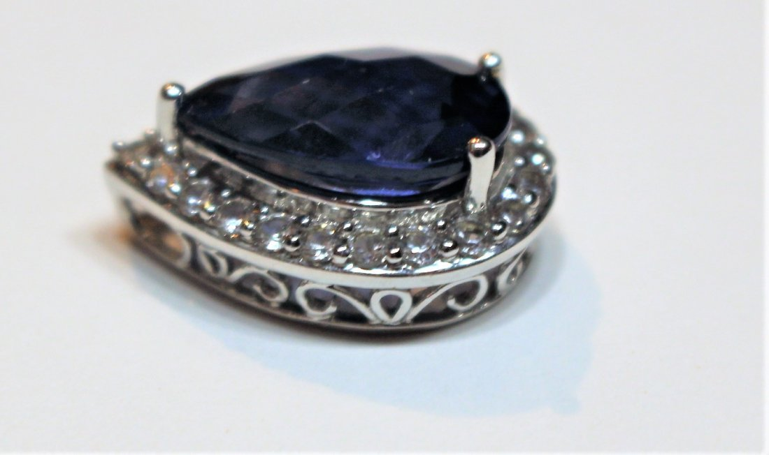 10 K White Blue Sapphire Pendant With CZs - 3