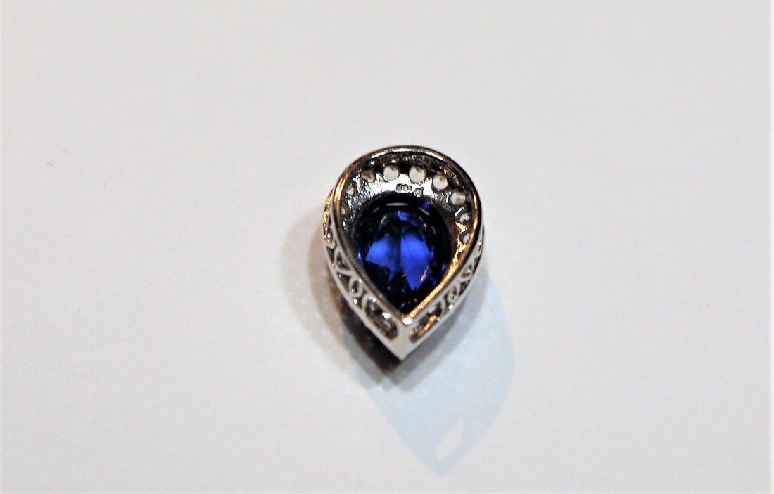 10 K White Blue Sapphire Pendant With CZs - 4