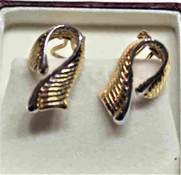 14 K Yellow Gold Pierced Earrings