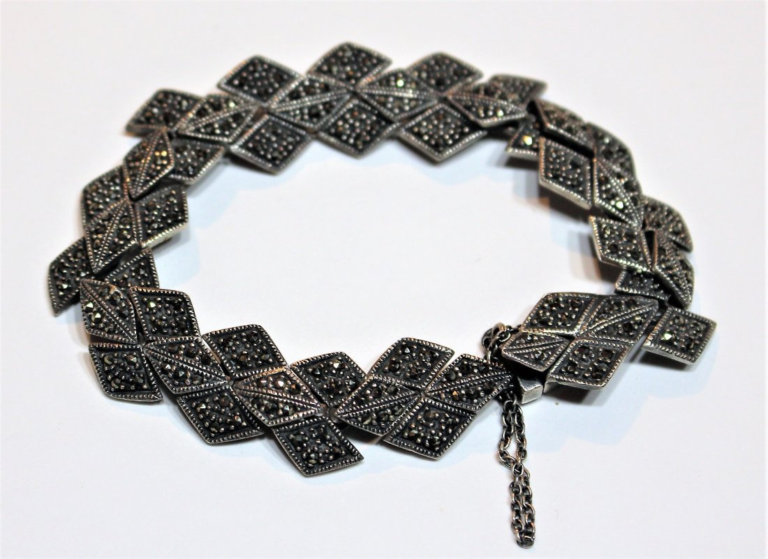 .925 Sterling Silver And Marcasite Bracelet
