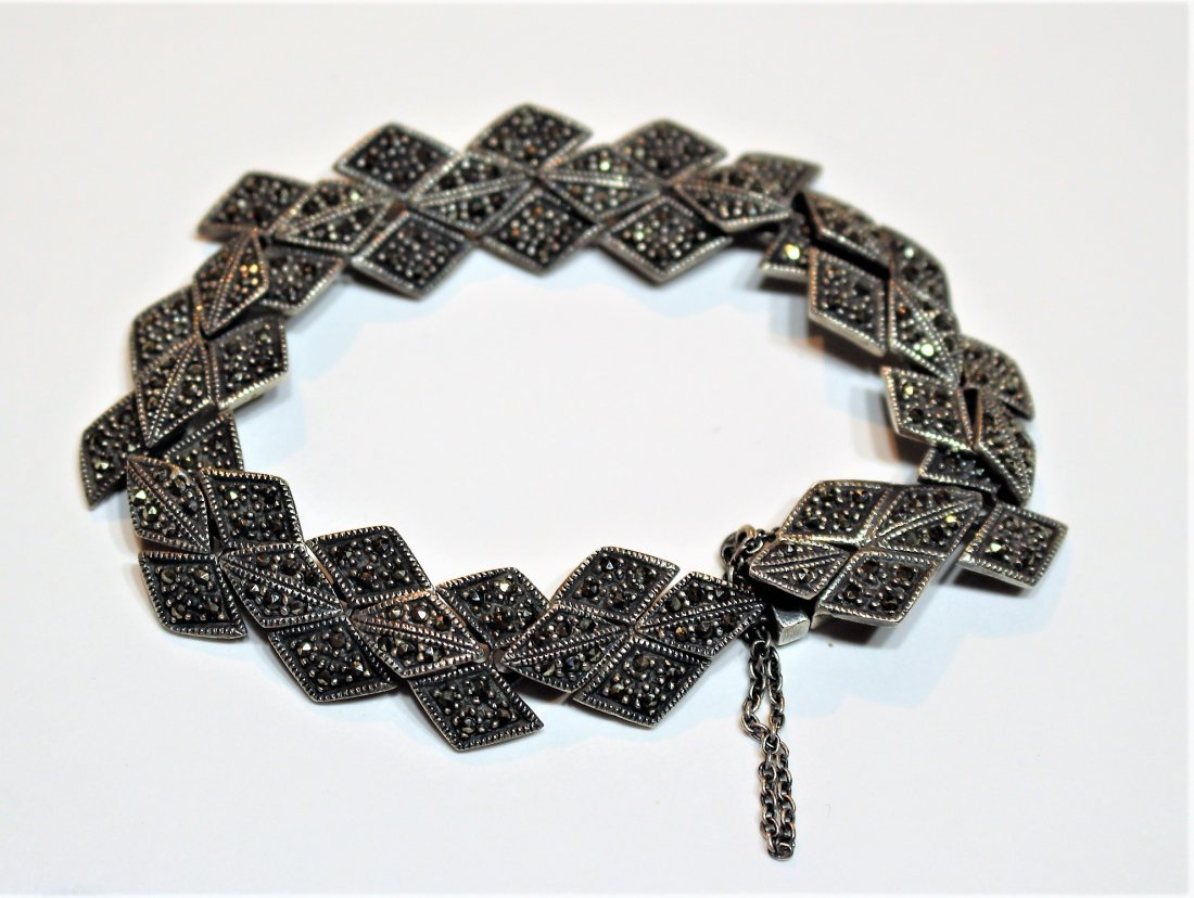 .925 Sterling Silver And Marcasite Bracelet - 2