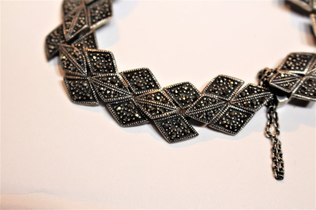 .925 Sterling Silver And Marcasite Bracelet - 3