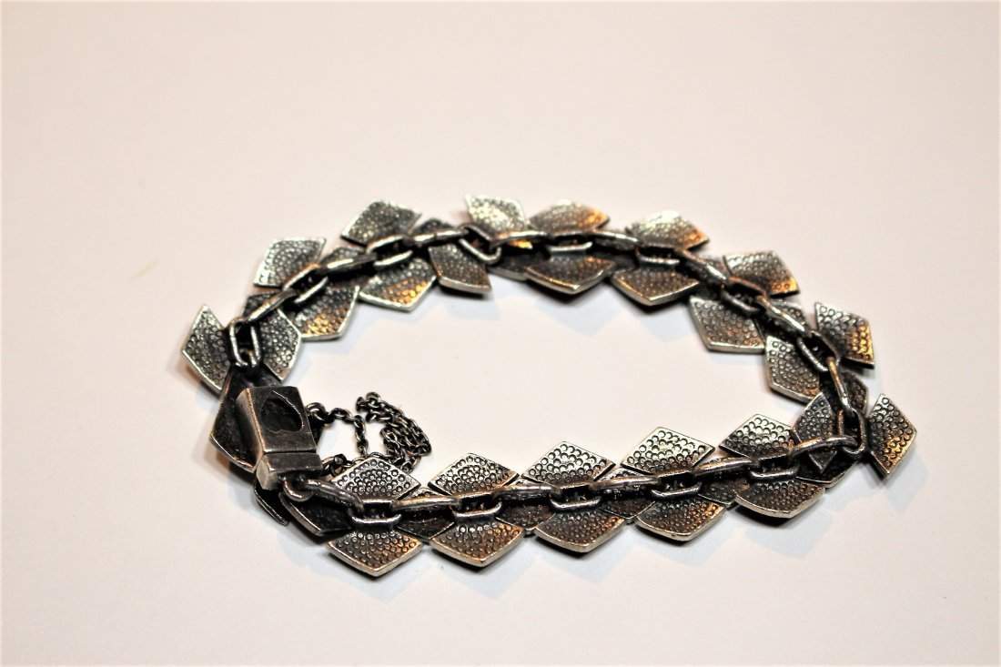 .925 Sterling Silver And Marcasite Bracelet - 4