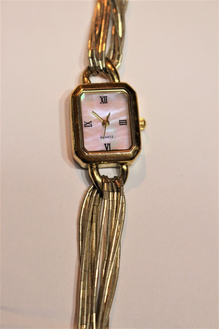 Gold Plated Over Sterling Silver Ladies Wrist Watch MOP - 3