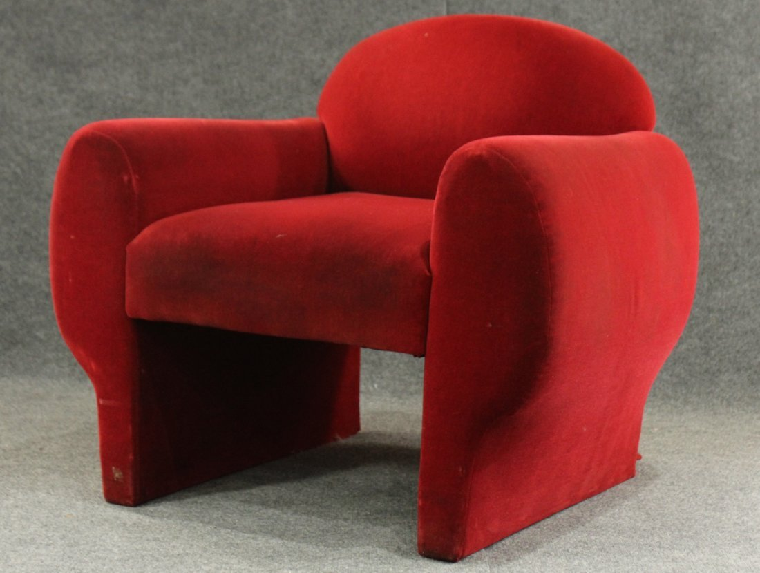 Mid-Century Modern Red Velvet Club Chair, Great Lines