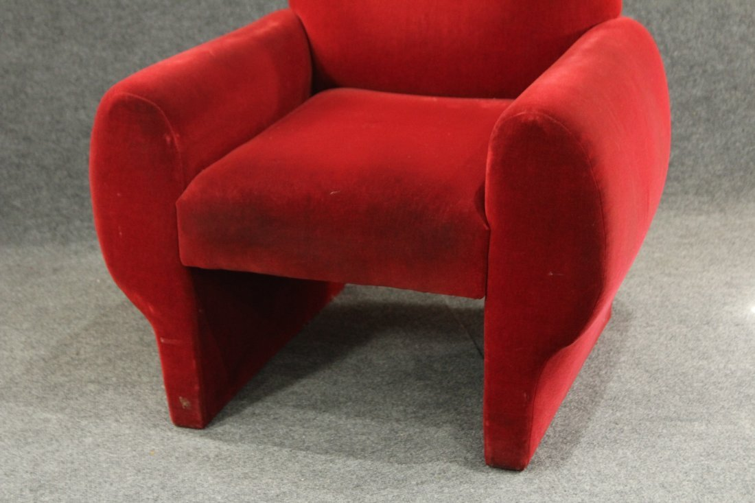 Mid-Century Modern Red Velvet Club Chair, Great Lines - 2