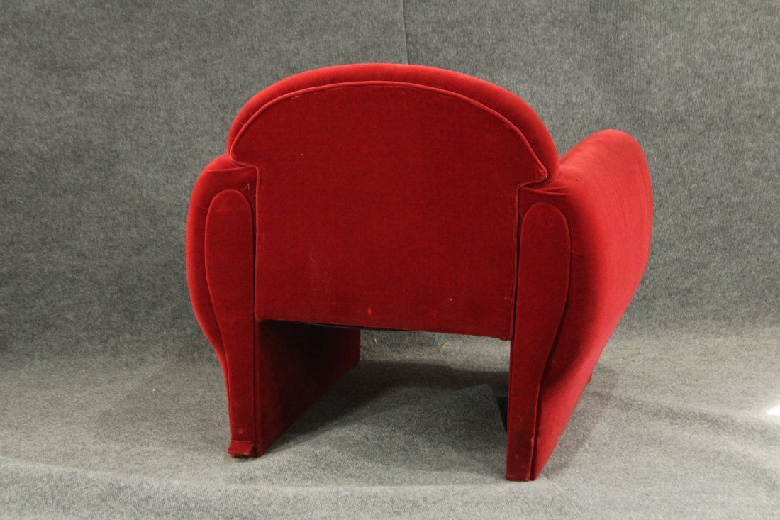 Mid-Century Modern Red Velvet Club Chair, Great Lines - 4