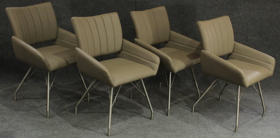 4 (four) Modern ITALIAN CHAIRS chrome hair pin legs