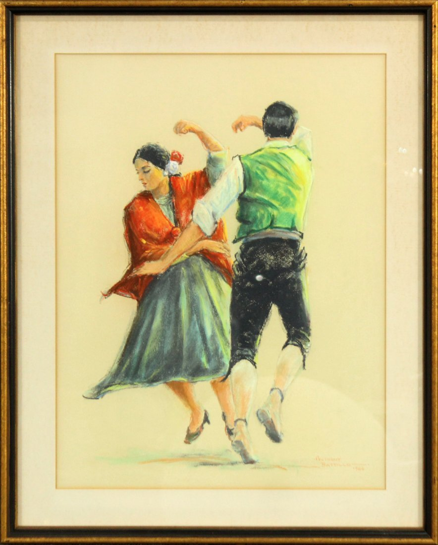 Anthony Battillo 1966 Flamenco Spanish Dancers Pastel