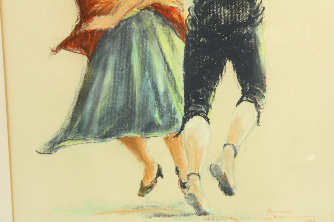 Anthony Battillo 1966 Flamenco Spanish Dancers Pastel - 4