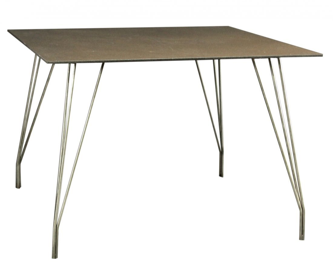 Modern Italian square table with chrome hair pin legs