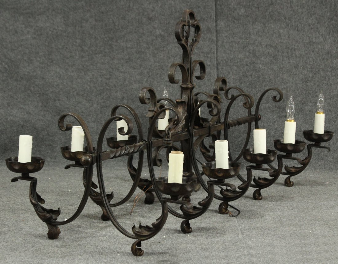 Wrought iron arts and crafts chandelier, Gothic - 3
