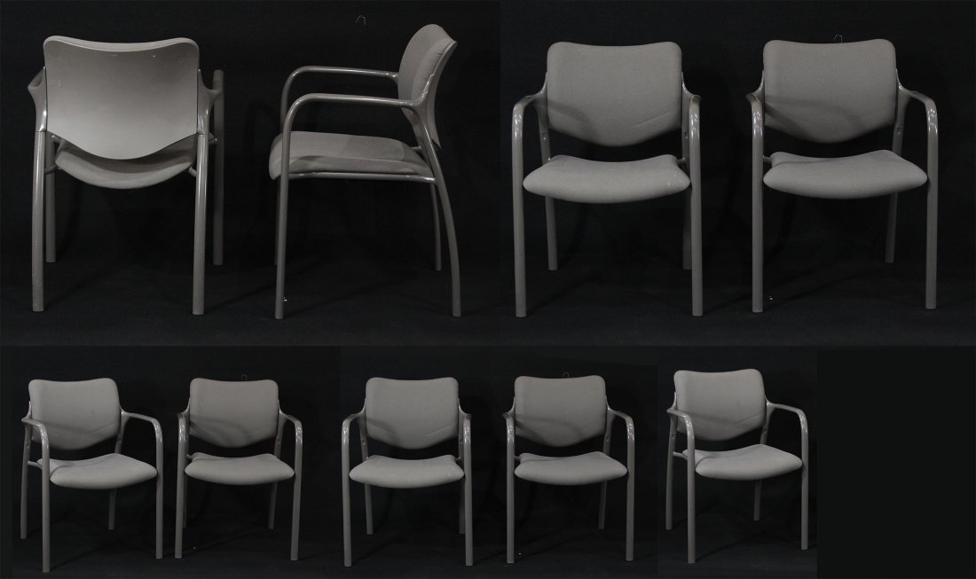 SET NINE HERMAN MILLER QUALITY STACKING ARM CHAIRS