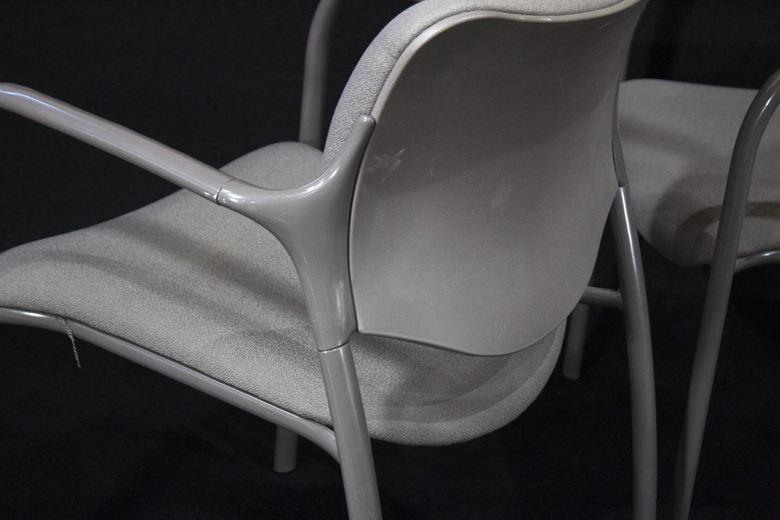 SET NINE HERMAN MILLER QUALITY STACKING ARM CHAIRS - 2