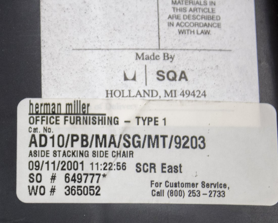 SET NINE HERMAN MILLER QUALITY STACKING ARM CHAIRS - 5