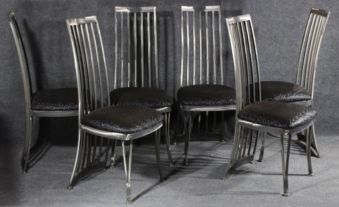 SET 6 BRUSHED STEEL MODERN HIGH BACK DINING CHAIRS