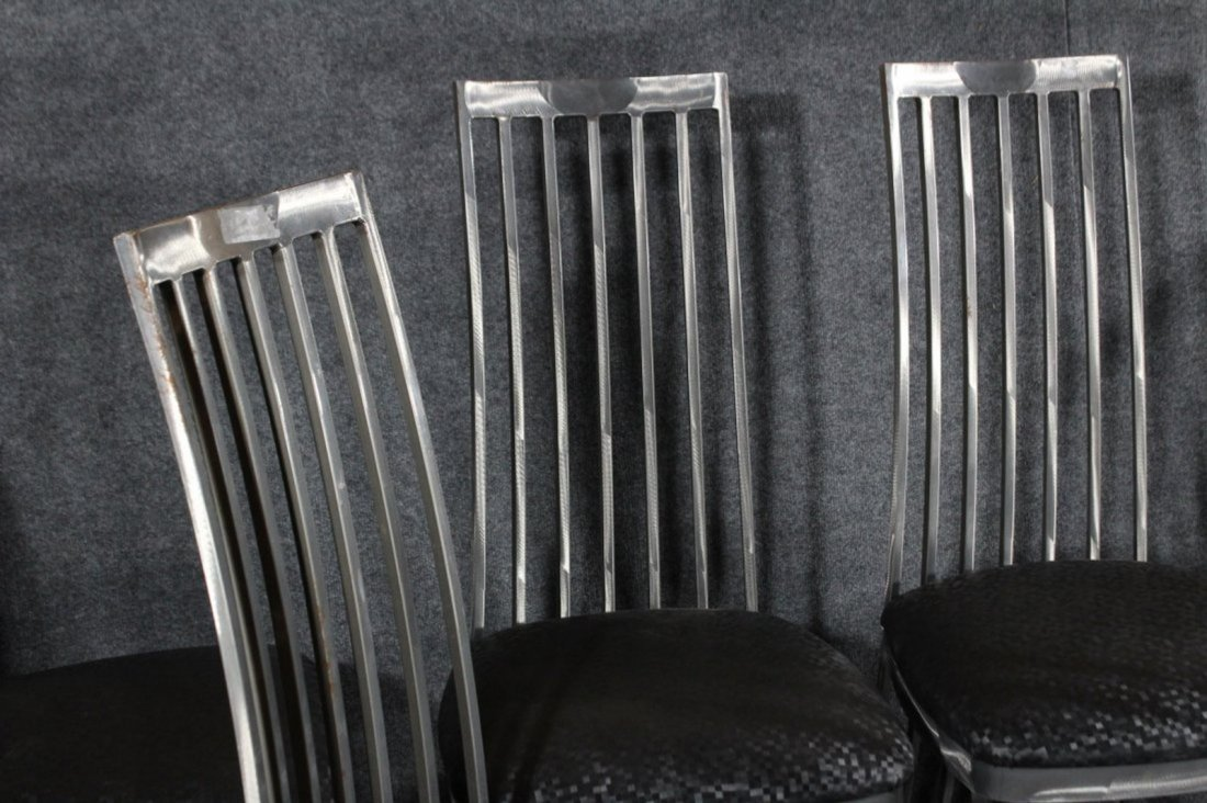 SET 6 BRUSHED STEEL MODERN HIGH BACK DINING CHAIRS - 2