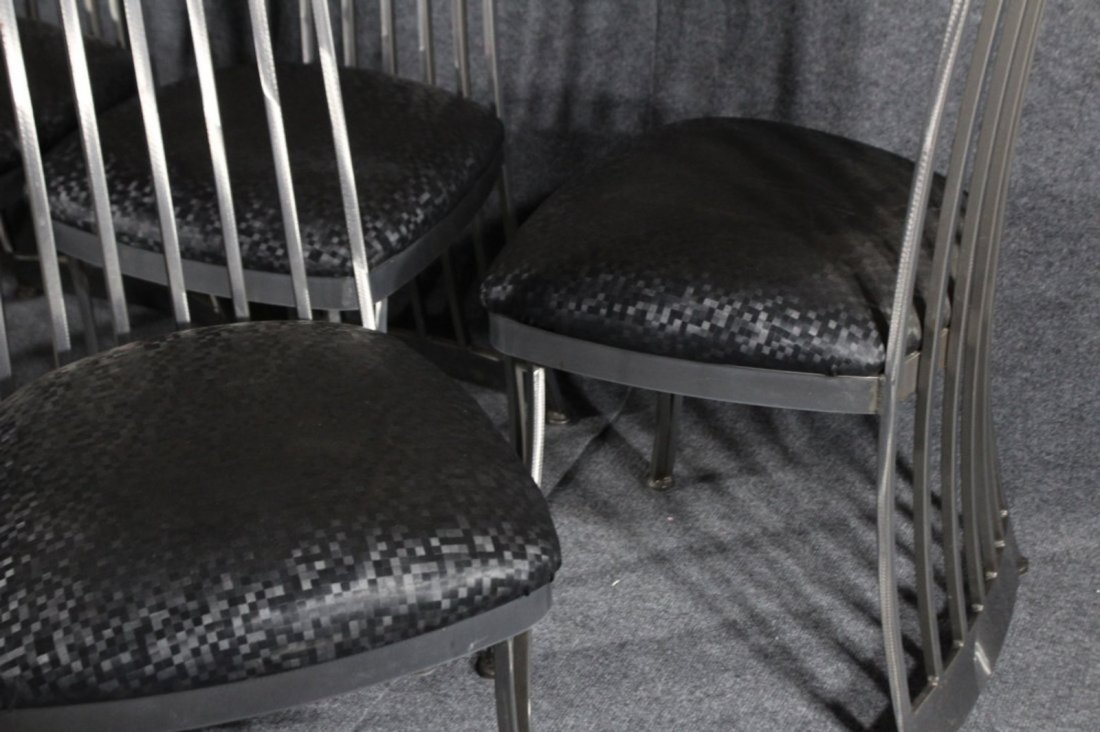 SET 6 BRUSHED STEEL MODERN HIGH BACK DINING CHAIRS - 3