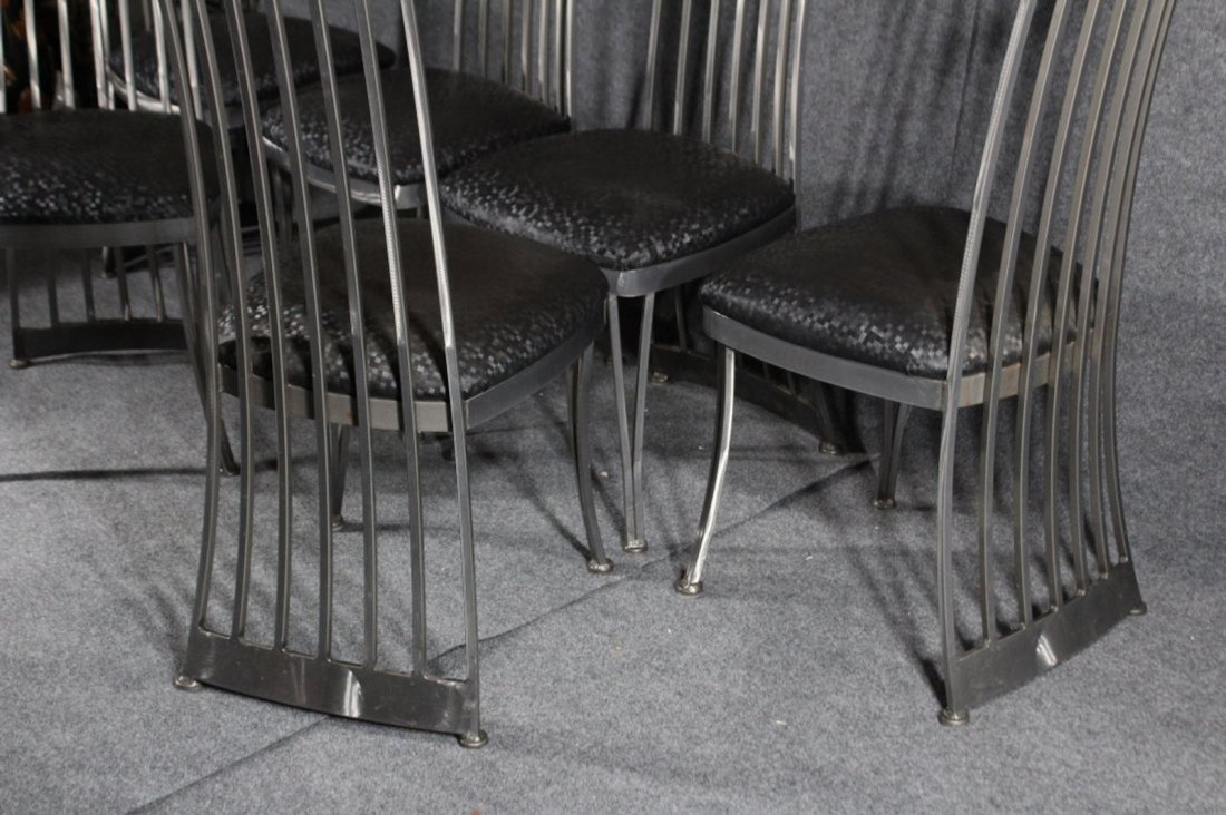 SET 6 BRUSHED STEEL MODERN HIGH BACK DINING CHAIRS - 4