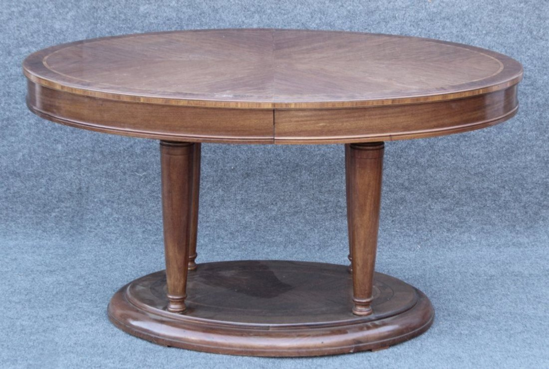 OVAL BANDED TOP MAHOGANY CENTER TABLE