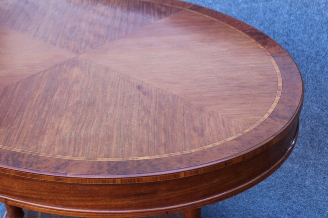 OVAL BANDED TOP MAHOGANY CENTER TABLE - 2