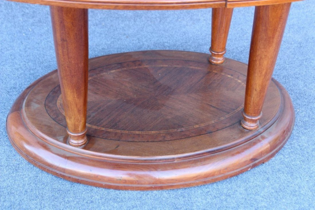 OVAL BANDED TOP MAHOGANY CENTER TABLE - 3