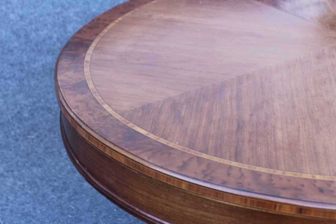 OVAL BANDED TOP MAHOGANY CENTER TABLE - 4
