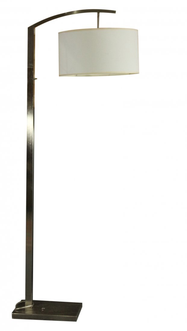 Mid-century style floor lamp with brushed steel