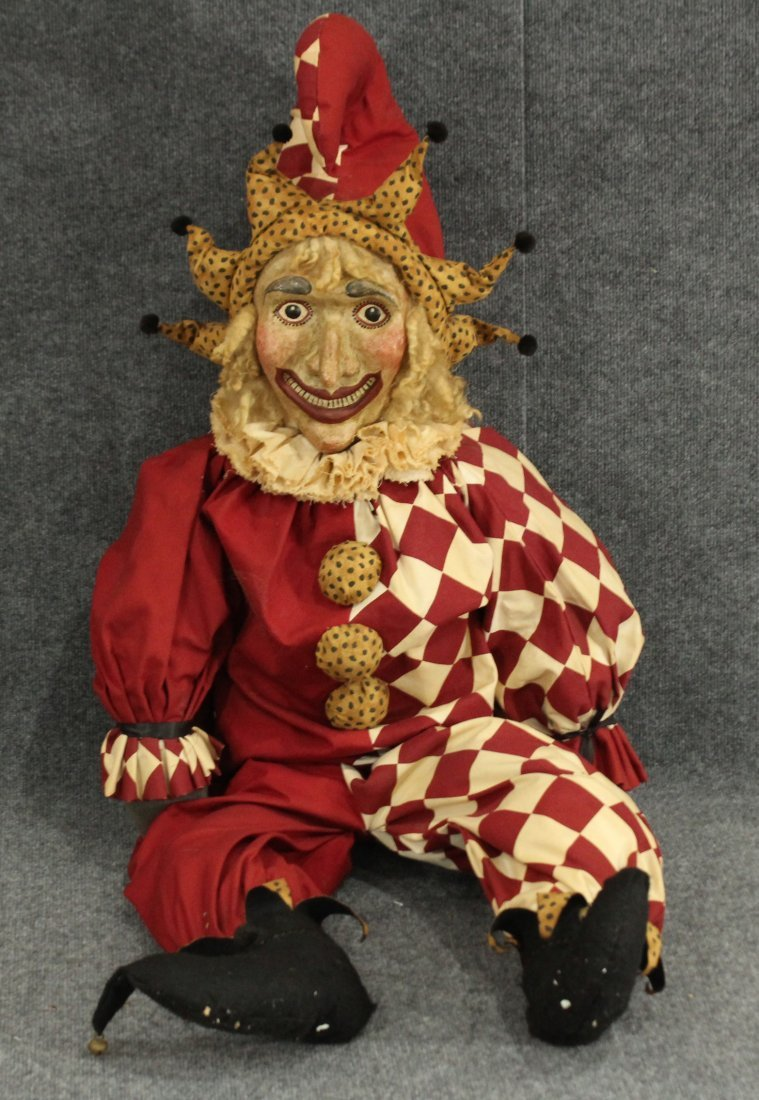 Vintage paper mache fave large stuffed /wire jester