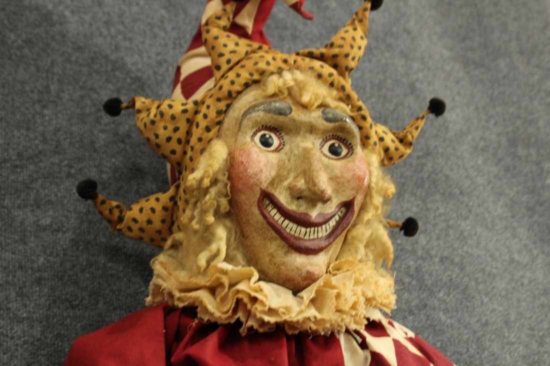 Vintage paper mache fave large stuffed /wire jester - 2