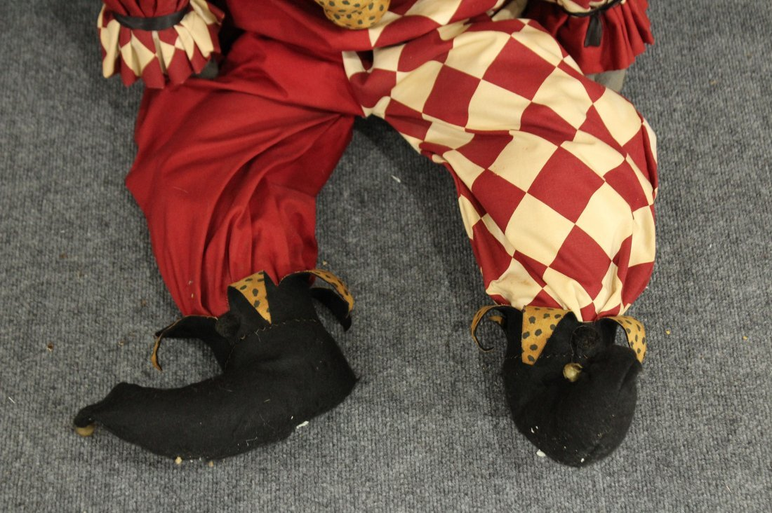 Vintage paper mache fave large stuffed /wire jester - 4