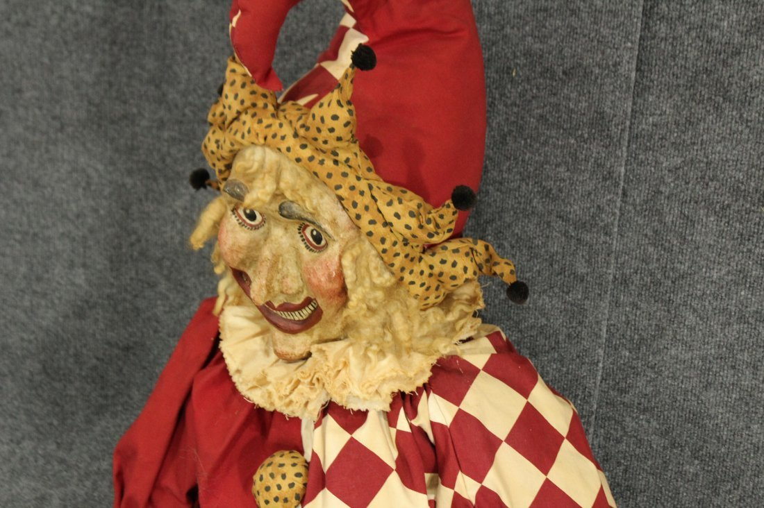 Vintage paper mache fave large stuffed /wire jester - 5