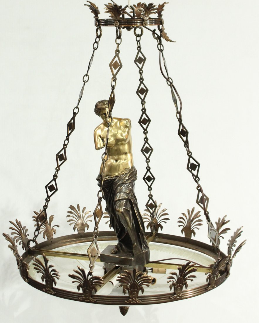 Greek renaissance polished brass chandelier with statue