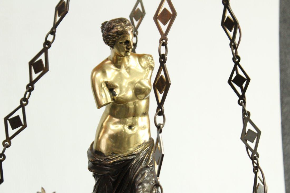 Greek renaissance polished brass chandelier with statue - 2